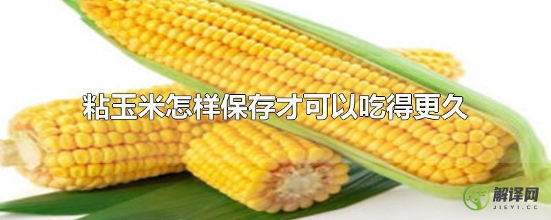 粘玉米怎样保存才可以吃得更久?